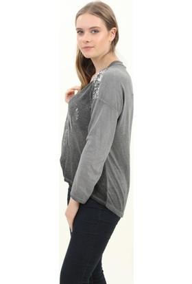Pua Fashion Kadın Bluz Antrasit V Yaka Omuzu Payetli Bluz