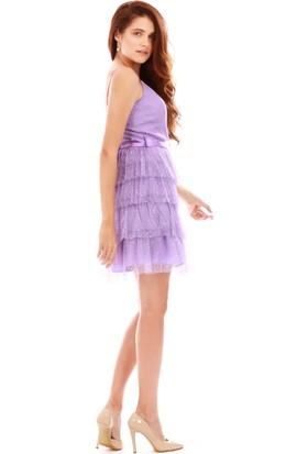 6ixty8ight Lila Saten Kuşaklı Kısa Abiye Elbise