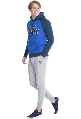 Ucla Mavi Kapüşonlu Baskılı Erkek Sweatshirt