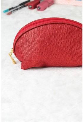 Kırmızı Tasarım Simli Makyaj Çantası