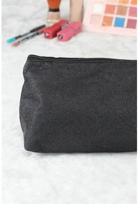 Siyah Renk Simli Makyaj Çantası