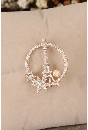 Birdoluçeşit Zirkon Taşlı Paris Kulesi Figürlü Broş Bronz