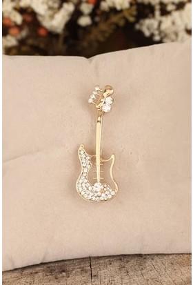 Birdoluçeşit Zirkon Taşlı Gitar Figürlü Broş Dore