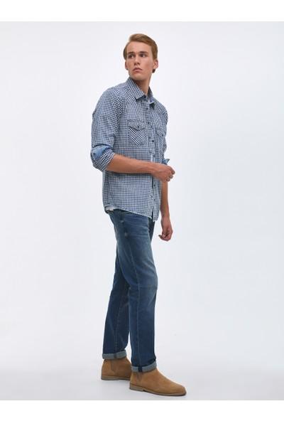 LTB Donald Small Navy Check Wash Erkek Jeans Gömlek
