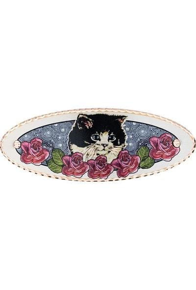 Lotis Çiçek Desenli Kedi Figürlü Bakır Toka