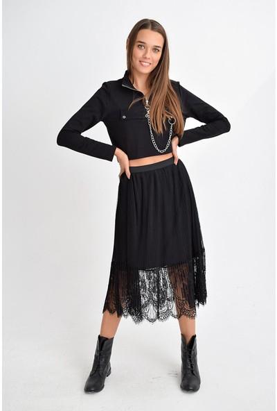Tena Moda Kadın Siyah Piliseli Tül Etek 9KBETFE6211
