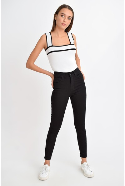 Tena Moda Kadın Siyah Yüksek Bel Dar Paça Pantolon 9KBPNBR4206