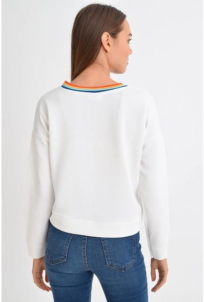 Tena Moda Kadın Ekru Lowers Sweatshirt 9KBSWDI8562
