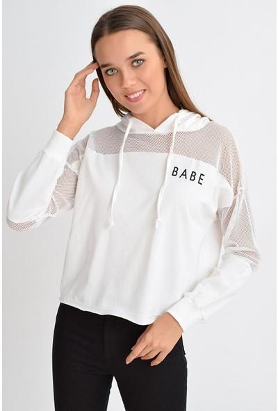 Tena Moda Kadın Ekru Babe Baskılı Sweatshirt 9KBSWFE6216
