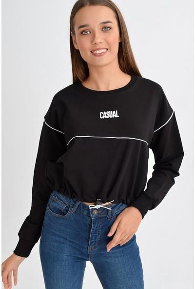 Tena Moda Kadın Siyah Casual Baskılı Sweatshirt 9KBSWNO7100