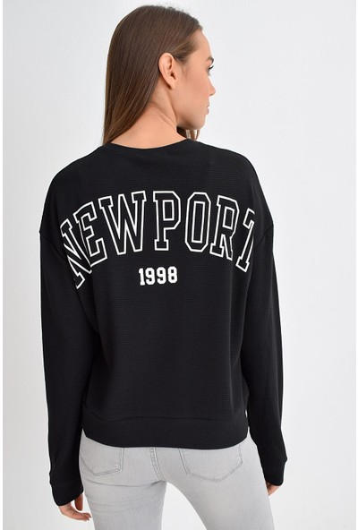 Tena Moda Kadın Siyah Newport Baskılı Sweatshirt 9KBSWNO7150