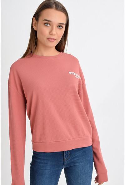 Tena Moda Kadın Gül Kurusu Newport Baskılı Sweatshirt 9KBSWNO7150