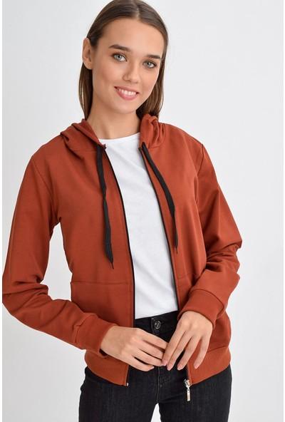 Tena Moda Kadın Kiremit Kapüşonlu Fermuarlı Cepli Sweatshirt 9KBSWWO3001