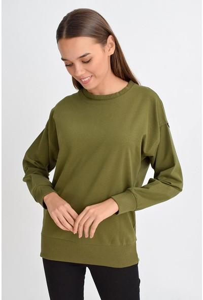 Tena Moda Kadın Haki Sıfır Yaka Basic Sweatshirt 9KBSWWO3012