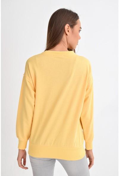 Tena Moda Kadın Sarı Sıfır Yaka Basic Sweatshirt 9KBSWWO3012
