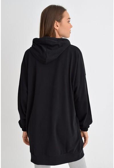 Tena Moda Kadın Siyah Etek Ucu Duz Lastikli Kapüşonlu Tunik 9KBTNFE6209