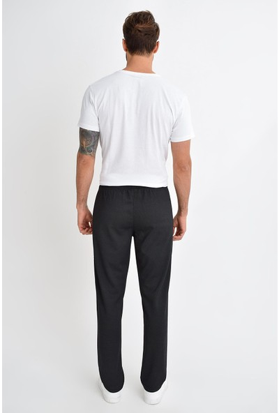 Tena Moda Erkek Siyah Petek Fermuarlı Eşofman Altı 9KEESIF7009