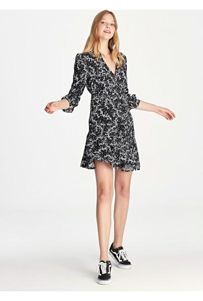 Çiçek Desenli Siyah Elbise 130803-900