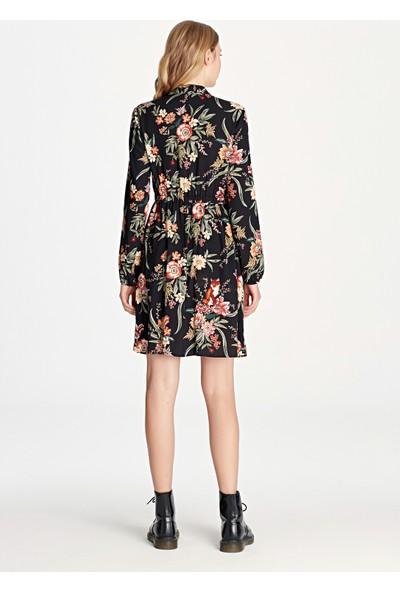 Çiçek Desenli Siyah Elbise 130804-15903
