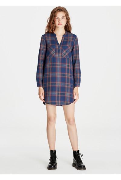 Uzun Kollu Kareli Elbise 130808-30230