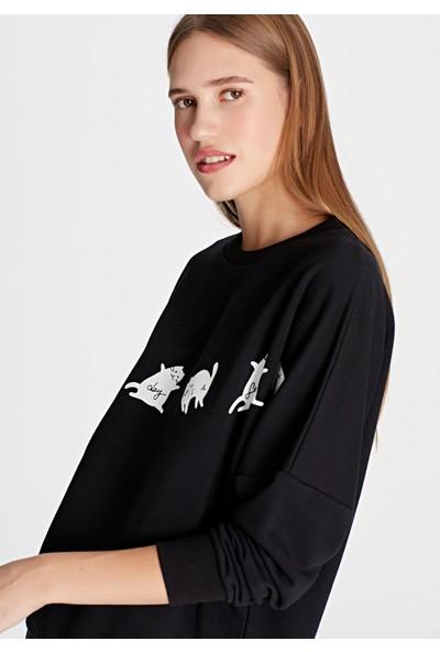 Kedi Baskılı Sweatshirt 168156-900