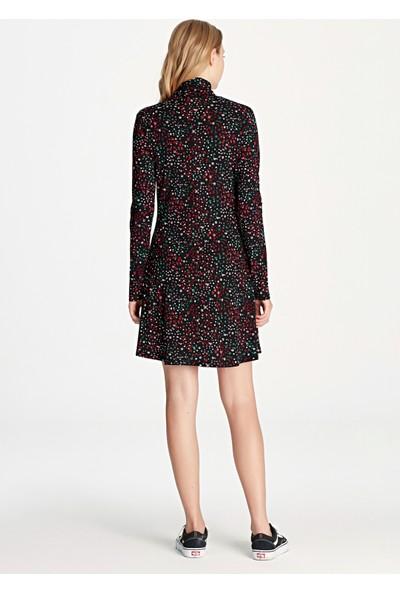 Çiçek Desenli Siyah Elbise 168320-900
