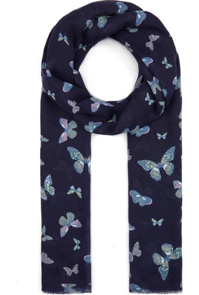 Mavi Kadın Kelebek Desenli Lacivert Şal