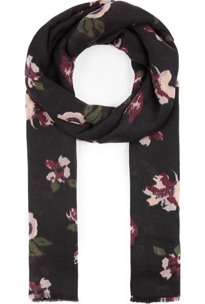 Çiçek Desenli Siyah Şal 196886-900