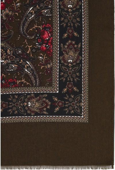 Mavi Kadın Desenli Kahverengi Şal 196890-29760