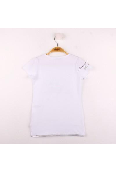 Toontoy Kız Çocuk Yazı Baskılı T-shirt