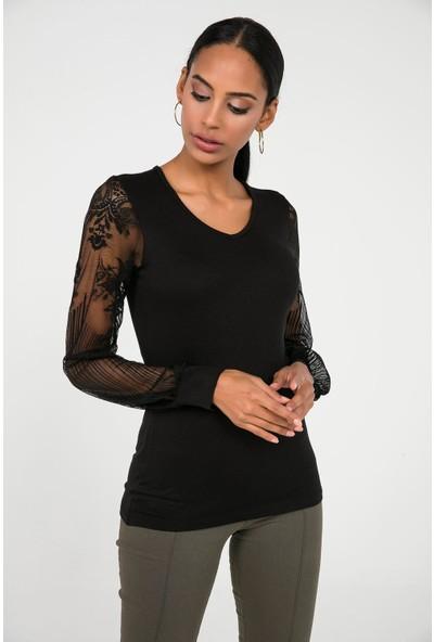 Liplipo Kadın Kolları Dantel Likra Çilek Bluz