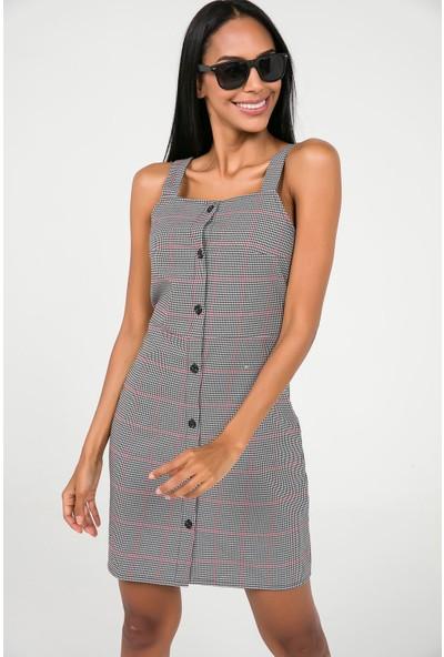 Liplipo Kadın Askılı Önü Düğmeli Ekose Elbise
