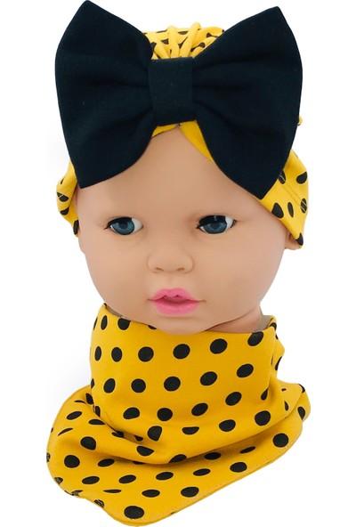 Bebemod Kız Bebek Bone Bere Fular 2'li Set Fiyonklu 0-12 Ay