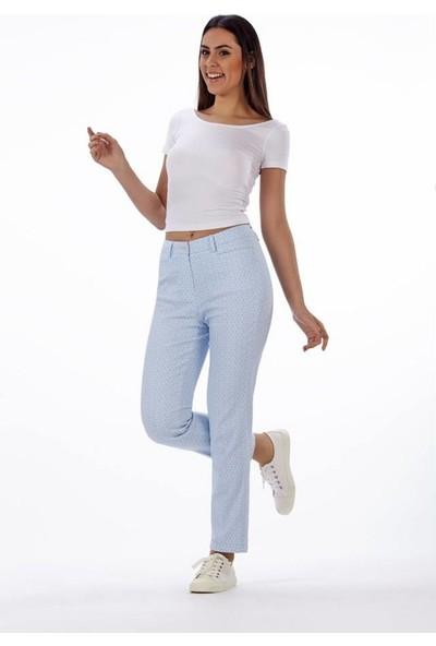 Lukas Kadın Desenli Mavi Pantolon