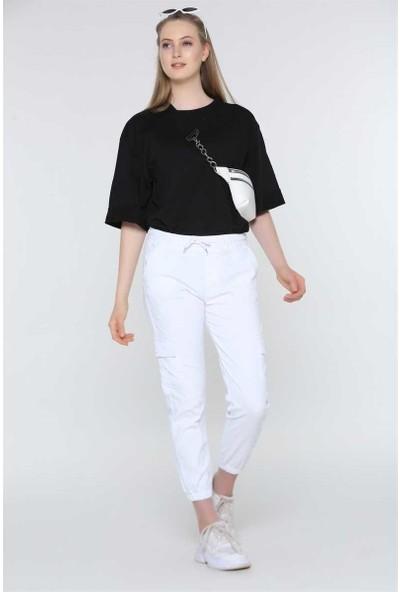 Lukas Kadın Lastikli Beyaz Kargo Pantolon
