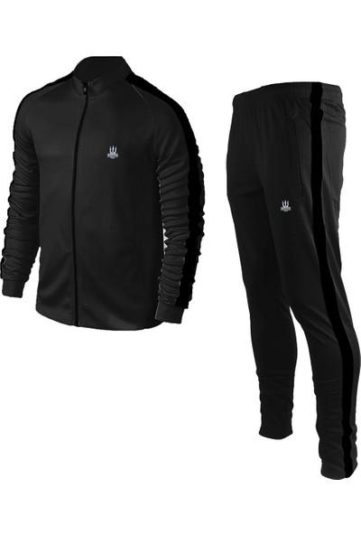 Poseıdonstorm Erkek Siyah Sporcu Eşofman Takımı Siyah Şerit