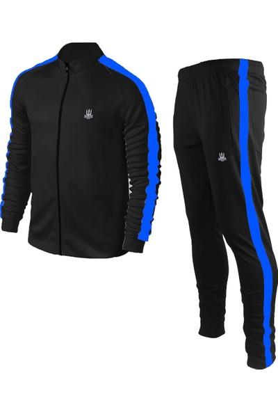 Poseıdonstorm Erkek Siyah Sporcu Eşofman Takımı Mavi Şerit