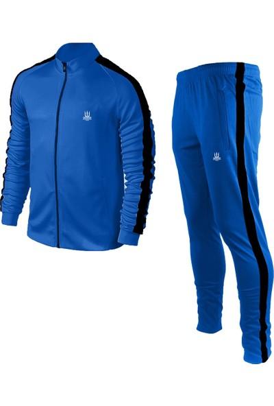 Poseıdonstorm Erkek Mavi Sporcu Eşofman Takımı Siyah Şerit