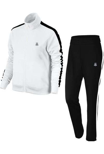 Poseıdonstorm Erkek Beyaz Sporcu Eşofman Takımı Siyah