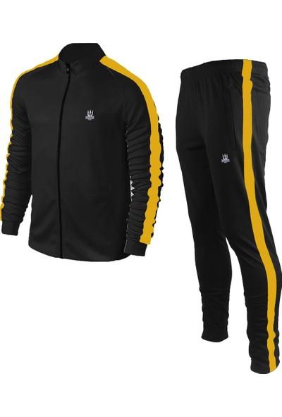Poseıdonstorm Erkek Siyah Sporcu Eşofman Takımı Hardal Sarısı Şerit