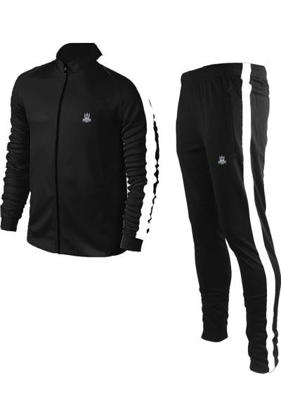 Poseıdonstorm Erkek Siyah Sporcu Eşofman Takımı Beyaz Şerit