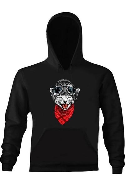 Art T-Shirt Kedi Pilot Kız Çocuk Sweatshirt