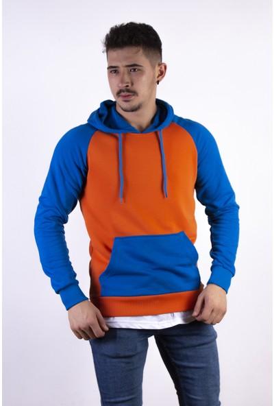 Densmood Erkek Turuncu ve Mavi Kapüşonlu Sweatshirt
