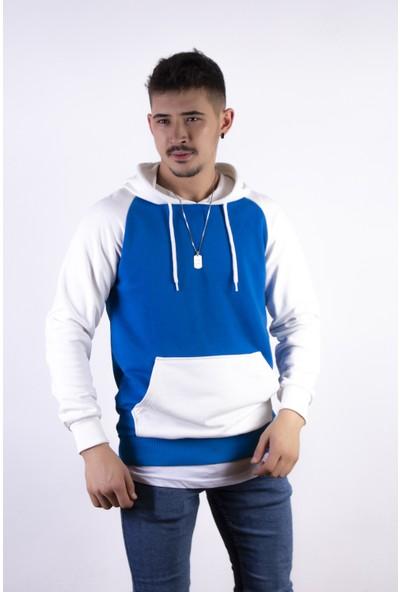 Densmood Erkek Mavi Beyaz Kapüşonlu Sweatshirt
