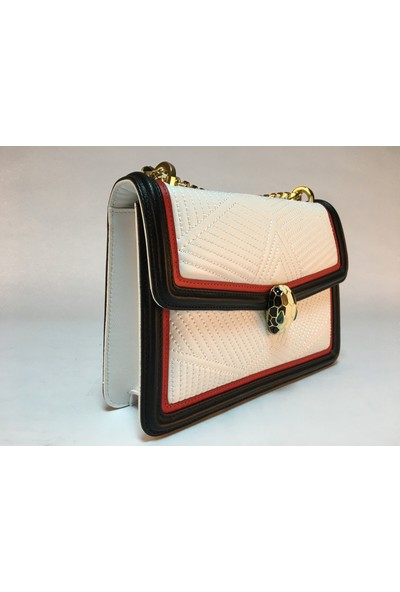 AG8262 METİS Beyaz Kırmızı Deri Kadın Çanta