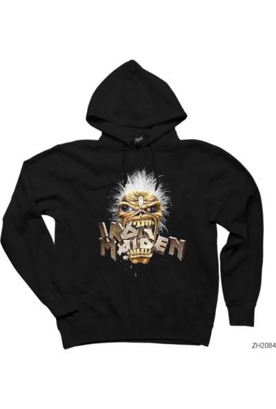 Zepplin Giyim Iron Maiden Skull Siyah Kapüşonlu Sweatshirt