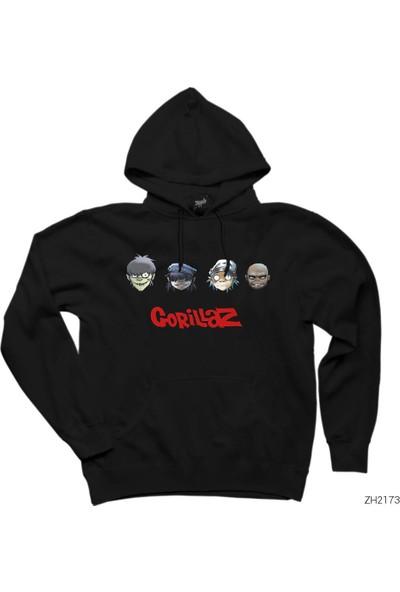 Zepplin Giyim Gorillaz Cartoon - 2 Siyah Kapüşonlu Sweatshirt
