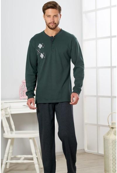 Estiva Erkek Nefti Yeşili Interlok Pijama Takımı