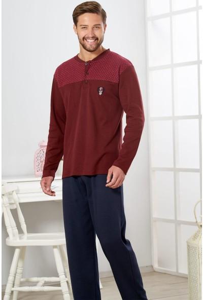 Estiva Erkek Bordo Interlok Pijama Takımı