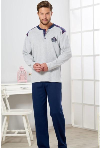 Estiva Erkek Gri Melanj Interlok Pijama Takımı